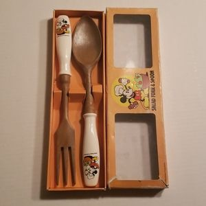 Vtg Walt Disney Mickey Salad fork & spoon